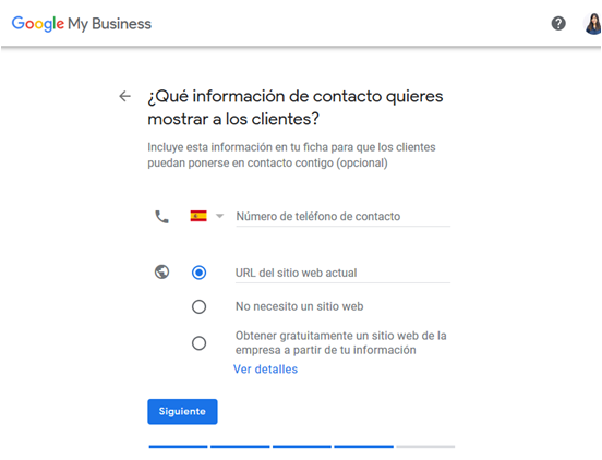 información de contacto google my business